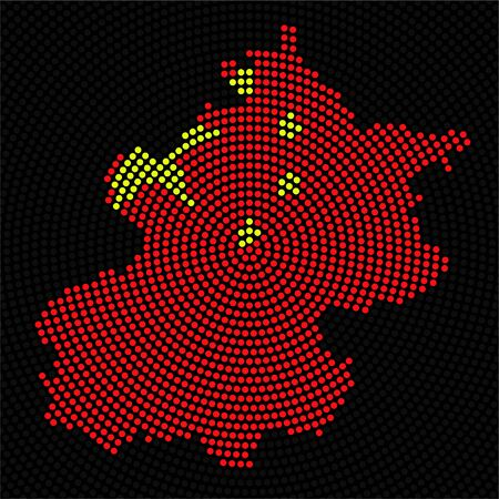 Abstract map Beijing of radial dots with flag China inside 向量圖像