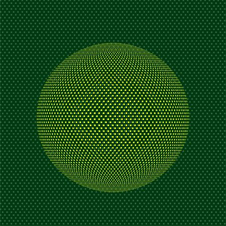 Abstract sphere icon of squares, pixelated halftone