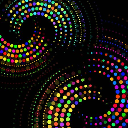 Abstract colorful dotted circles. Dots in circular form