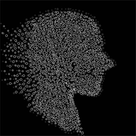 Abstract silhouette human head with circles, dotted