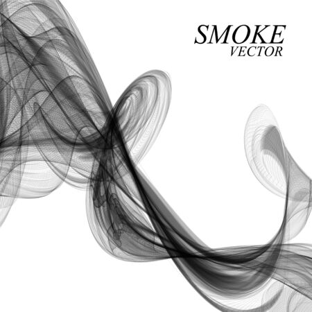 Abstract black smoke on white background, vector