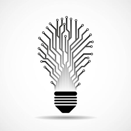 Abstract lamp with circuit board. Technology light bulb