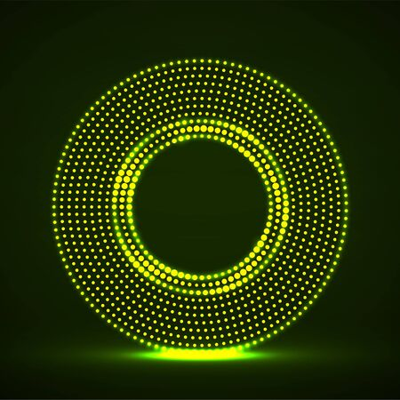 Abstract neon dotted circles. Glowing dots halftone circle