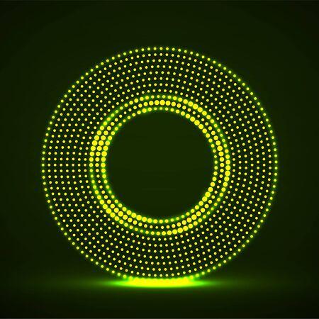 Abstract neon dotted circles. Glowing dots halftone circle