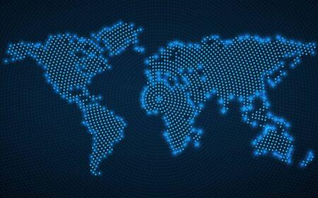Mapa del mundo abstracto con puntos radiales brillantes. Vector