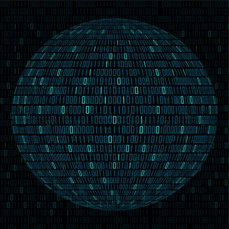 Vector illustration of globe with binary code, abstract technology ball
