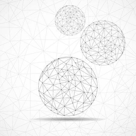 Abstract wireframe globes, network connections with dots and lines