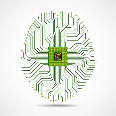Abstract technological brain, artificial intelligence with cpu, circuit board Ilustración de vector