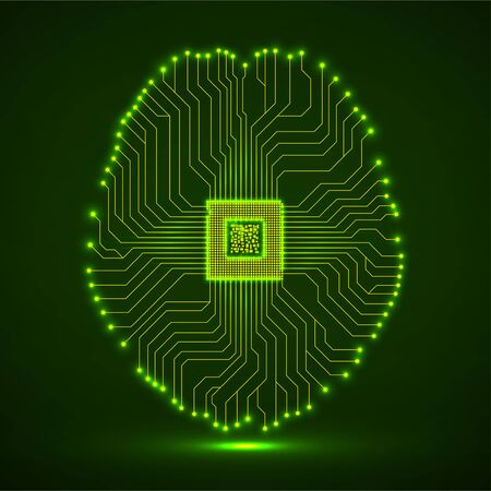 Abstract neon technological brain, artificial intelligence with cpu, circuit board