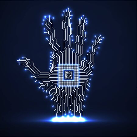 Abstract neon hand with cpu, circuit board