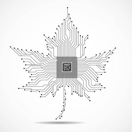 Hoja de arce abstracta con microprocesador en el interior, placa de circuito Ilustración de vector