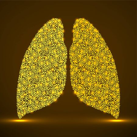 Abstract human lung of glowing dots, neons particles