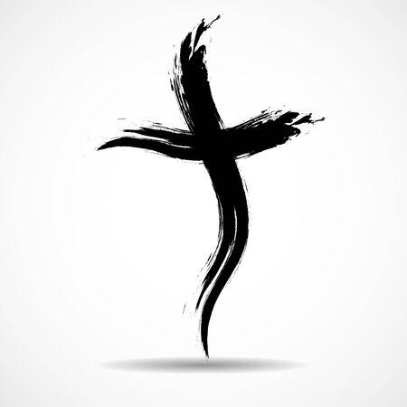 Hand drawn christian cross. Grunge cross. Religion christian symbol 向量圖像