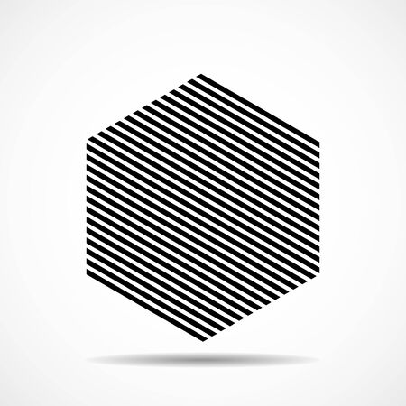 Abstract hexagon of lines, geometric shape. Vector design elements