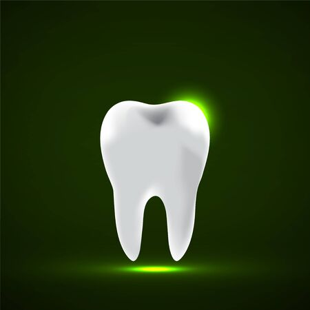 Tooth Icon. Stomatology glowing sign. Vector illustration