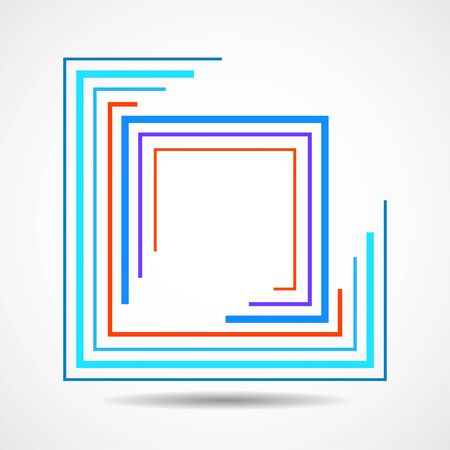 Abstract colorful square  with lines, geometric sign
