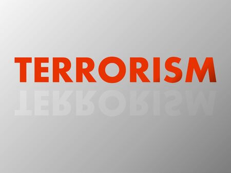 The word TERRORISM in mirror reflection. Vector Illustration