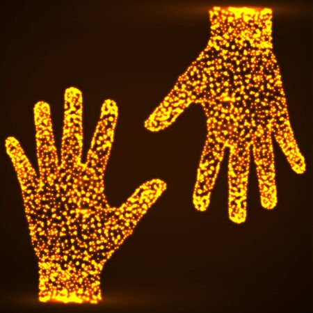 Abstract hands with luminous particles.