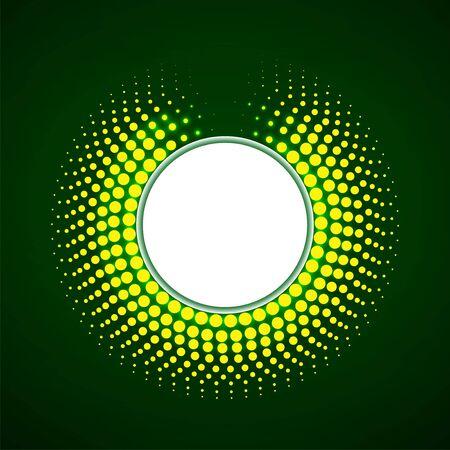Círculo de puntos brillantes, fondo punteado de semitono, vector