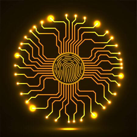 Abstract neon sign fingerprint with circuit board by circumference. Technology concept