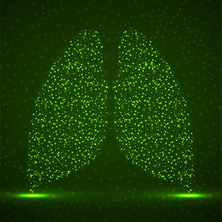 Abstract human lung of glowing particles, technology concept