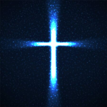 Abstract shining cross with glowing rays and particles. Religious symbol. Vector christian sign