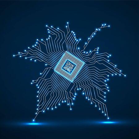 Hoja de arce de neón abstracto con microprocesador en el interior. Ilustración vectorial