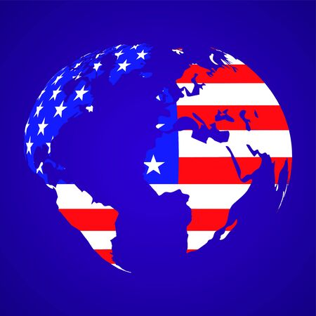 Abstract globe earth with flag United States of America. Vector illustration
