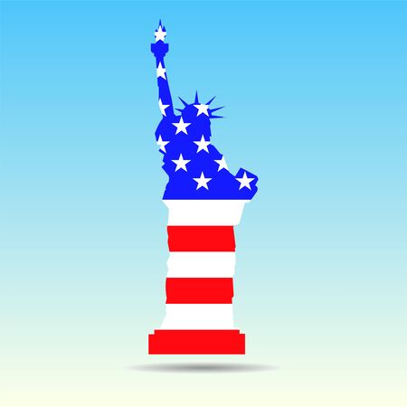 Statue of Liberty with flag United States of America on isolated background. Vector illustration