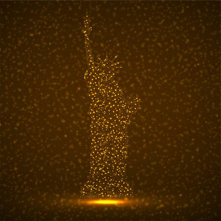 Abstract silhouette Statue of Liberty of glowing particles. Isolated vector illustration