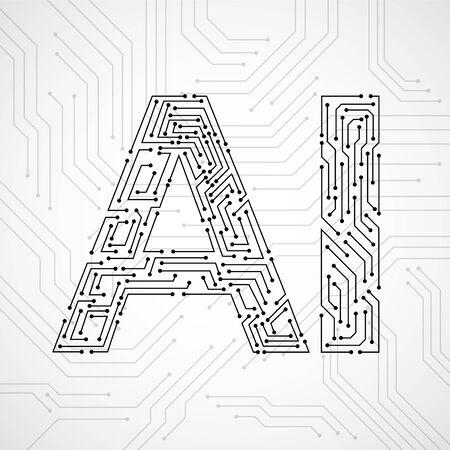 Intelligenza artificiale con circuito stampato isolato su sfondo bianco. Concetto astratto di tecnologia. Illustrazione vettoriale