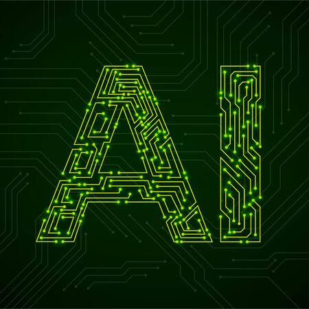 Artificial Intelligence with circuit board. Abstract technology concept. Vector illustration