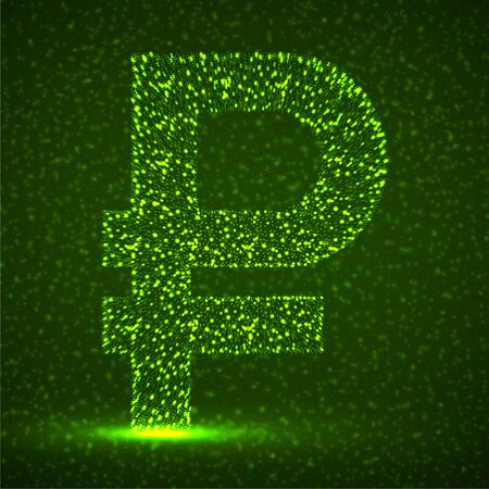 Abstract sign russian ruble of glowing particles. Neon financial symbol. Isolated vector illustration Vettoriali