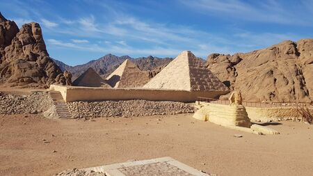 Landscape with mountain with mini pyramids and sphinx in Safari Sharm, Egypt