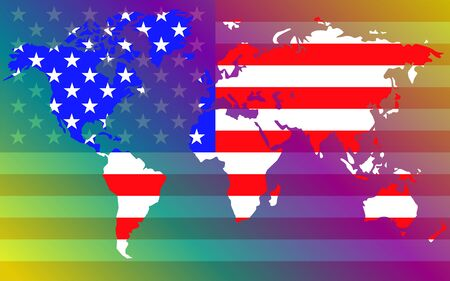 World map with flag United States of America. Vector illustration