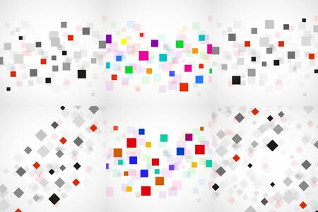 Set of abstract backgrounds with colorful squares. Modern vector design Çizim