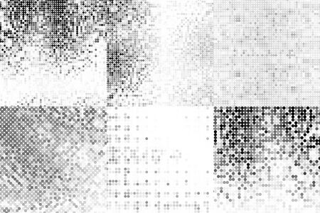 Set of abstract gray backgrounds with squares. Geometric texture. Halftone effect. Vector illustration