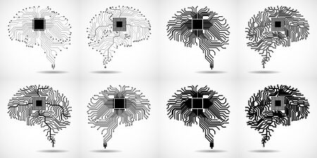 Set of abstract technological brain. Cpu. Circuit board. Vector illustration Çizim