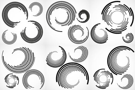 Set of abstract backgrounds with circles with lines, technology backdrop, geometric shapes. Vector Illustration Çizim