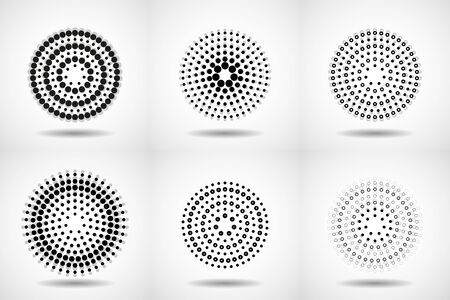 Vector set of halftone dotted backgrounds in circle form. Circle dots isolated on the white background Çizim