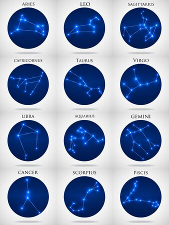 Set of zodiac constellations. Horoscope set Aries, Leo, Sagitarius, Capricorn, Taurus, Virgo, Libra, Aquarius, Gemini, Cancer, Scorpio, Pisces. Vector Illustration. Eps10 Çizim