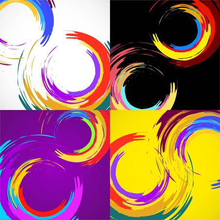 Vector set of brush stroke colorful circles for your design. Vector illustration