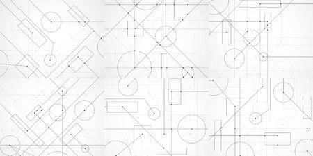 Conjunto de fondos abstractos con dibujo de ingeniería. Papel pintado tecnológico realizado con círculos y líneas. Diseño geométrico. Ilustración vectorial