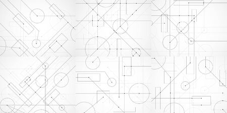 Set of abstract backgrounds with engineering drawing. Technological wallpaper made with circles and lines. Geometric design. Vector Illustration