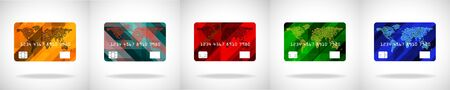 Set of credit card icon isolated on white background. Vector illustration