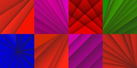 Set of abstract vector backgrounds with overlap red lines. Vector Illustration