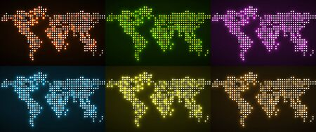 Set of abstract world maps with glowing dots. Vector illustration