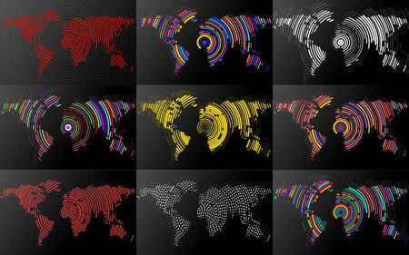 Set of abstract world maps with radial lines. Vector illustration