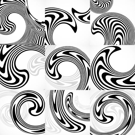 Set of abstract backgrounds with black and white striped, futuristic waves. Vector Illustration