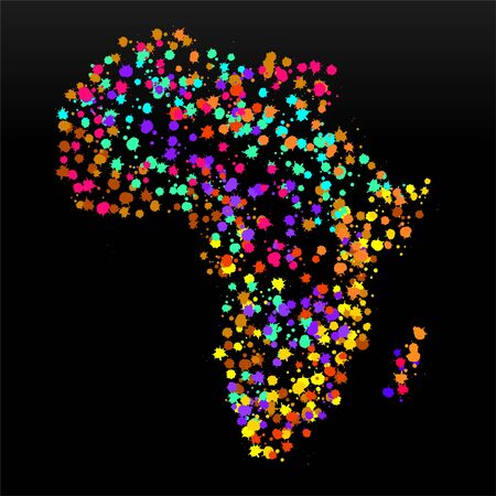 Abstract Africa map of colorful ink splashes, grunge splatters. Vector illustration